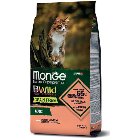 Monge BWild Grain Free – Salmon with Peas – Adult Cat 1.5kg