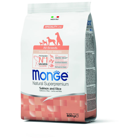 Monge – Monoprotein All Breeds Puppy & Junior Salmon and Rice 800gr, 2,5 & 12kg