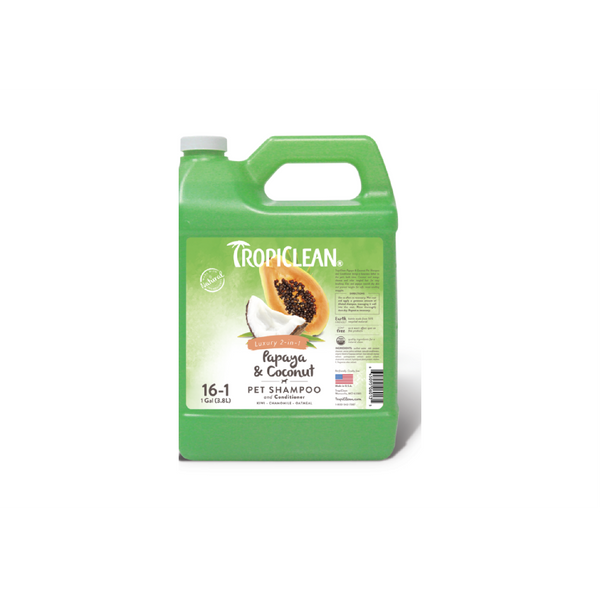 Tropiclean - Shampoo For Dogs & Cats 2in1 Papaya & Coconut 3.8L