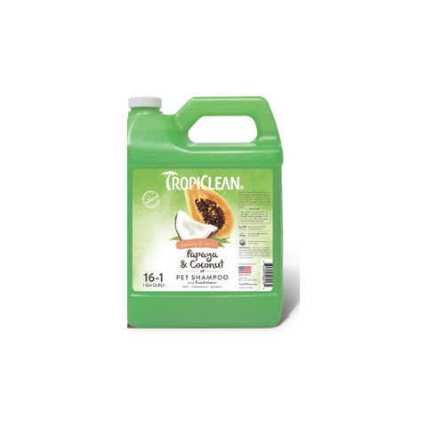 Tropiclean - Shampoo For Dogs & Cats 2in1 Papaya & Coconut 3.8L - zoofast-shop