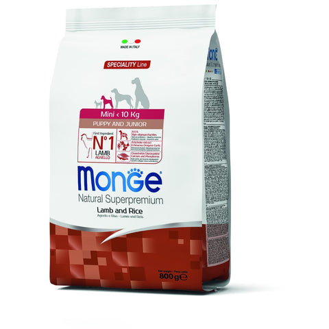 Monge – Monoprotein Mini Puppy & Junior Lamb and Rice 800gr & 2,5kg