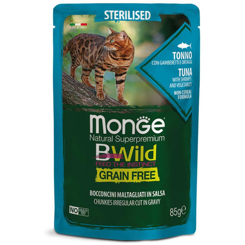 Monge BWild Grain Free – Gravy Tuna with Shrimps and Vegetables Sterilised 85g