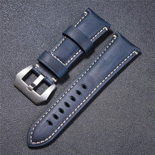 Load image into Gallery viewer, 22mm 24mm 26mm Crazy Horse Handmade Genuie Leather Watch Band Straps With Stainless Steel Silver Black Buckle Watch Strap
