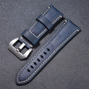 22mm 24mm 26mm Crazy Horse Handmade Genuie Leather Watch Band Straps With Stainless Steel Silver Black Buckle Watch Strap