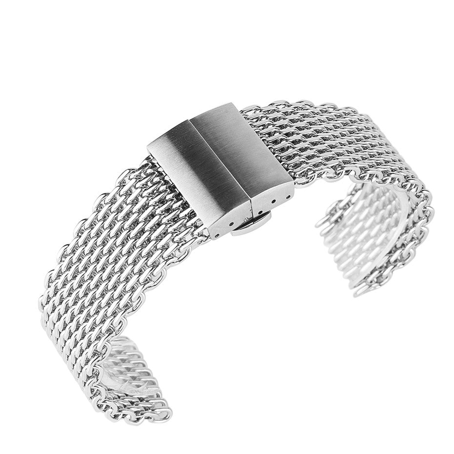 22mm Silver Mesh Stainless Steel Watchband Hidden Butterfly Buckle Men Women Watches Strap Fashion Watch Replacement Bracelet