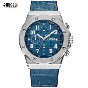 BAOGELA Men's New Quartz Watches 2019 Waterproof Chronograph Casual Luminous Wrist Watch Man Leather Strap Relogios 1805 Blue