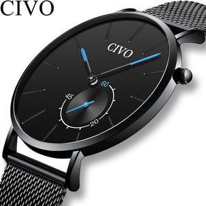 CIVO Luxury Men Watch Mens Clock Waterproof Fashion Quartz Watches Blue Steel Black Sport Montre Homme Relogio Masculino 2019