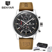 Load image into Gallery viewer, Luxury Men's Sports Watch BENYAR Brand Calendar Chronograph Waterproof Quartz watch leather military men's watch horloges mannen