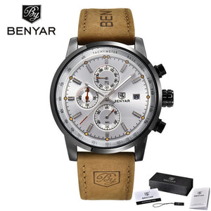 Luxury Men's Sports Watch BENYAR Brand Calendar Chronograph Waterproof Quartz watch leather military men's watch horloges mannen