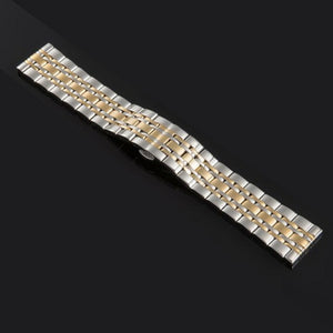 Metal Stainless Steel Watch Band Wrist Strap 16mm 18mm 20mm 22mm Butterfly Clasp Bracelet Men Women Black Rose Gold with Pins