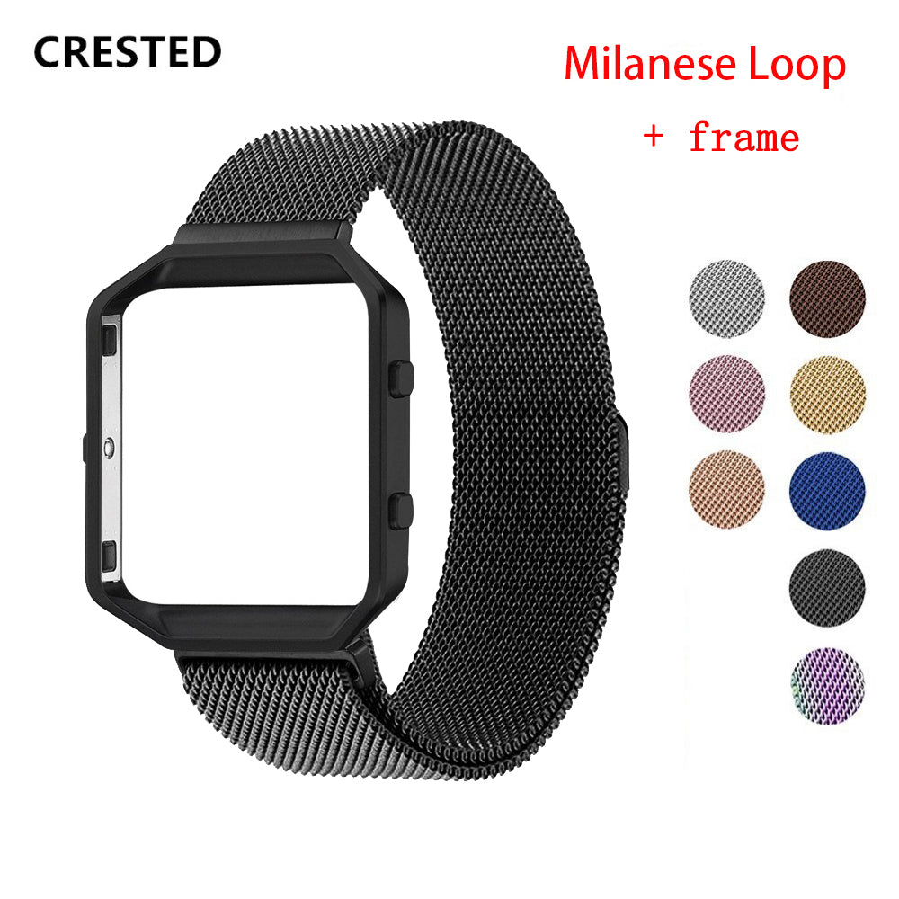 Milanese loop strap For Fitbit Blaze watch Band Stailess Steel bracelet correa belt for Fitbit Smart Watch accessories+frame