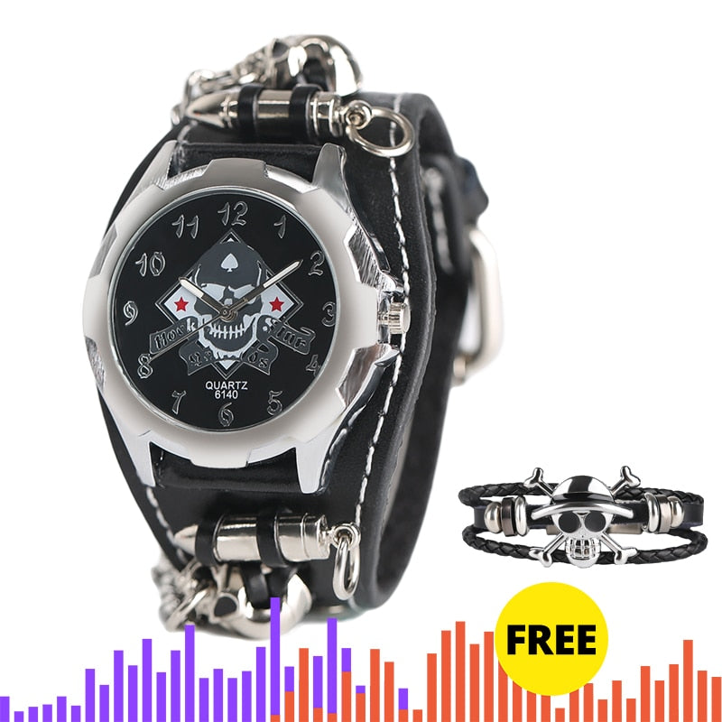 New Fashion Gothic Style Creative Watch Men's Rock Punk Cuff Bullet Chain Quartz Clock Cool Skull Bracelet Top Gift Reloj Hombre