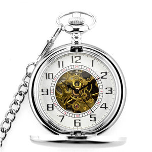 Retro Golden Pocket&Fob Watches Full Double Hunter Mechanical Pocket Watches Engraved Men Women Pocket Watch Chain Free Shipping