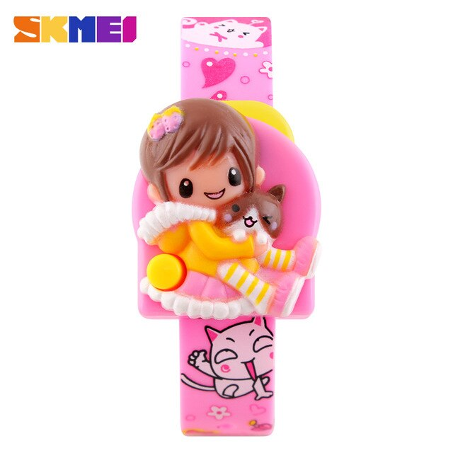 SKMEI New Cartoon Children Watches Creative Students Watch Cute Girls Kids Complete Calendar Digital Lovely Wristwatches 1240
