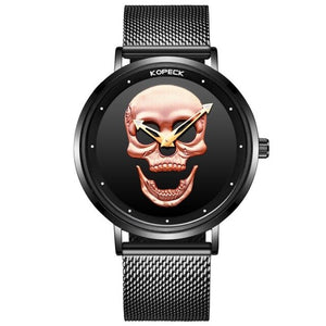Top Brand Business Men Skull Watches Sports Black Male Wrist Watches Waterproof Silver Stainless Steel Strap Men's Quartz Watch