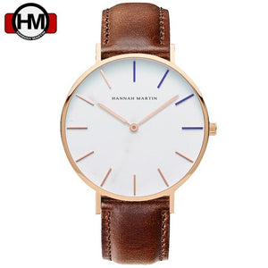 Top Brand Watches Men & Women High Quality Nylon Leather Rose Gold Clock 40cm Relogio Masculino Femme HANNAH MARTIN