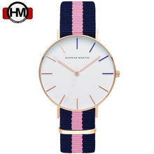 Load image into Gallery viewer, Top Brand Watches Men & Women High Quality Nylon Leather Rose Gold Clock 40cm Relogio Masculino Femme HANNAH MARTIN