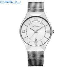 Load image into Gallery viewer, Top Luxury Brand CRRJU Men's Wrist Watches Stainless Steel Mesh Band Display Quartz Men watches calendar Ultra Thin Dial Clock