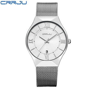 Top Luxury Brand CRRJU Men's Wrist Watches Stainless Steel Mesh Band Display Quartz Men watches calendar Ultra Thin Dial Clock