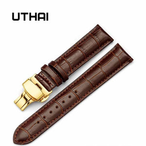 UTHAI Z06 double click elastic butterfly buckle strap cowhide dermal 14/16/18/19/20/21/22 /24mm wristwatch