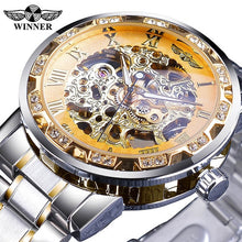 Load image into Gallery viewer, Winner Transparent Fashion Diamond Display Luminous Hands Gear Movement Retro Royal Design Men Mechanical Skeleton Wrist Watches