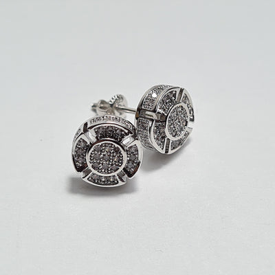 Iced Out Button Earrings