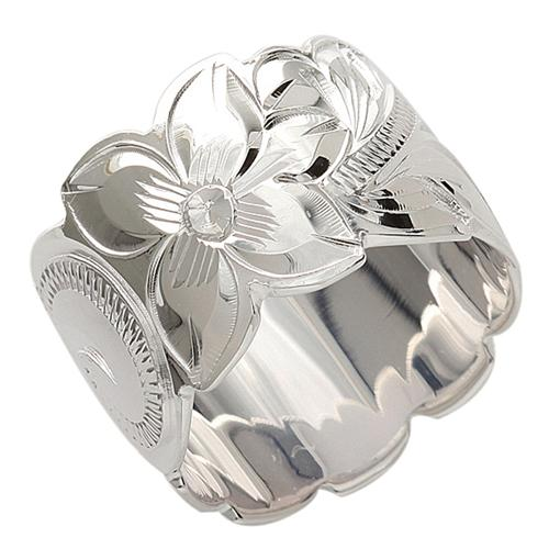 925 Sterling Silver Hand Carved Hawaiian Scroll Ring - 15mm