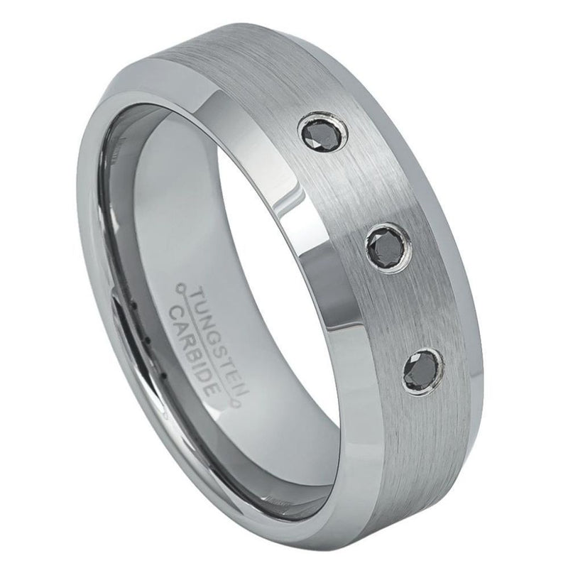 Scratch Free Tungsten Carbide Ring - 8mm With 3 Genuine Black Diamonds