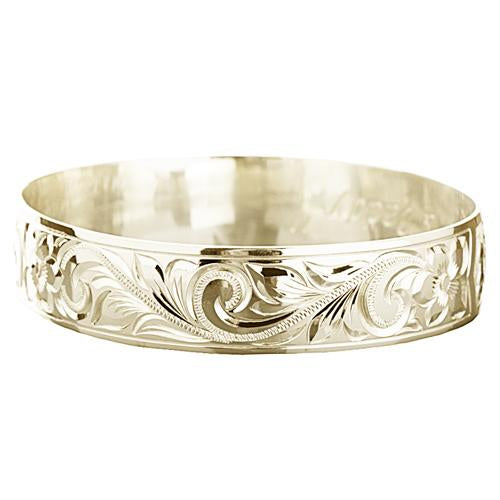 14K Gold Hawaiian Heirloom Bangle - Plumeria Princess Scroll