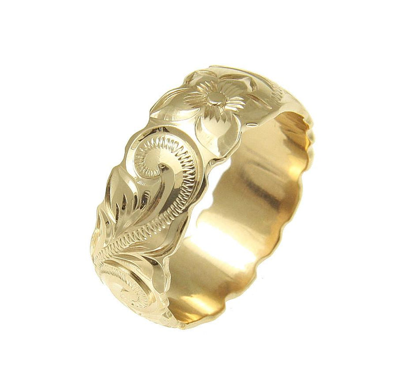 14K Gold 8mm Hawaiian Heirloom Ring - Personalized