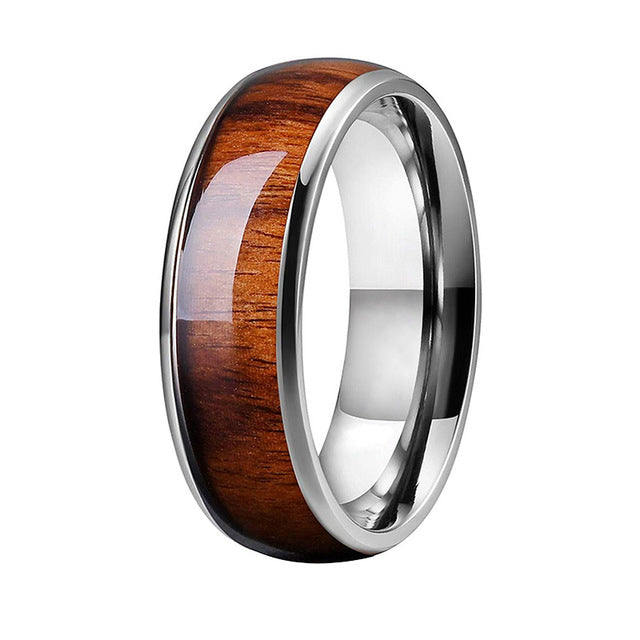 Tungsten Carbide Ring With Koa Wood Inlay