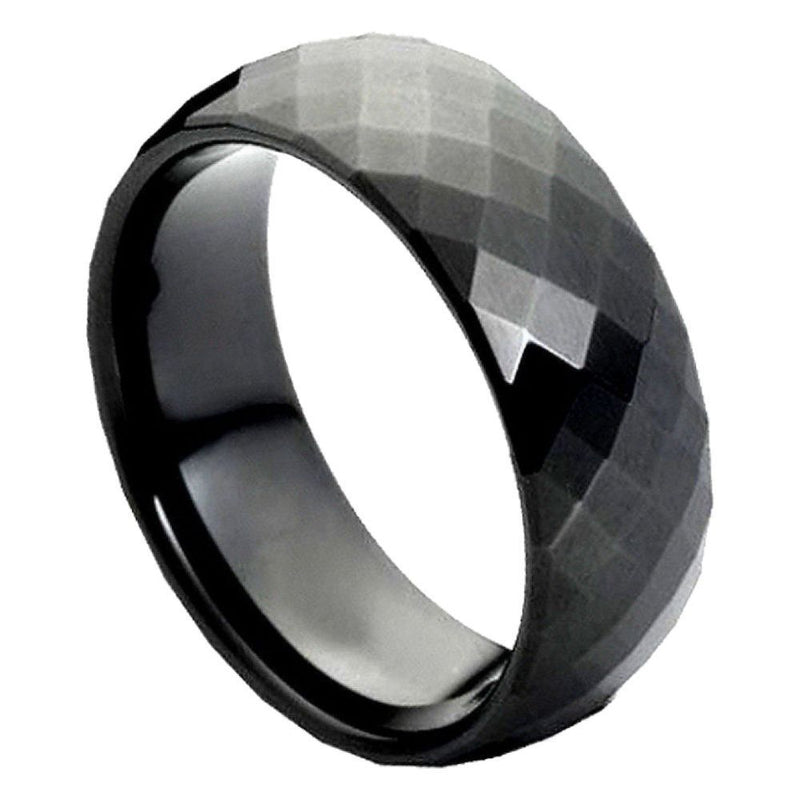 Scratch Free Tungsten Carbide Rings - 6mm Chip Chop Diamond Cuts