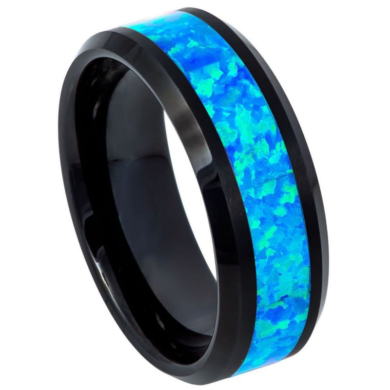 Scratch Free Tungsten Carbide Ring With Opal Inlay