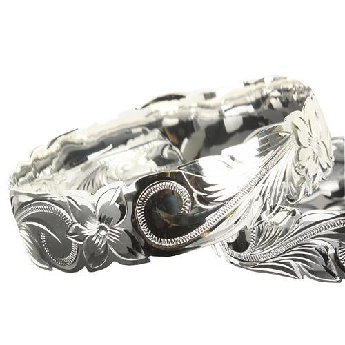 925 Sterling Silver Hand Carved Hawaiian Bangles - 6mm to 18mm