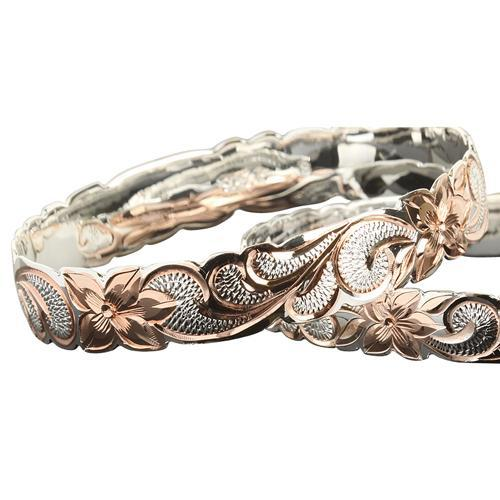 925 Sterling Silver Hand Carved Hawaiian Queen Bangles 2 Tones - 6mm to 18mm