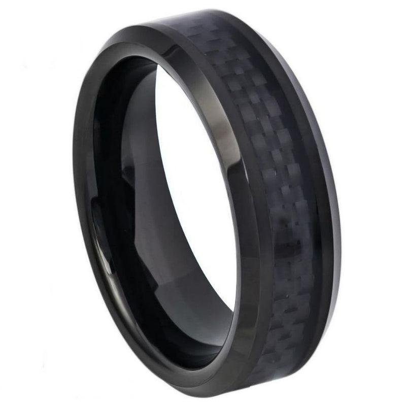 Scratch Free Tungsten Carbide Ring With Carbon Fiber Inlay - 6mm