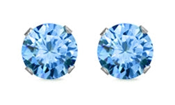 925 Sterling Silver CZ Stud Earrings - Aquamarine Color AAA+