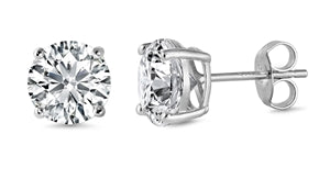 925 Sterling Silver CZ Stud Earrings - 12mm AAAA+
