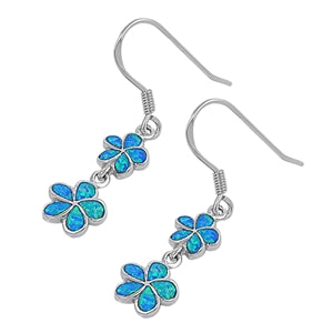 925 Sterling Silver Opal Plumerias Dangling Earrings