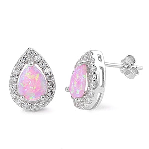925 Sterling Silver Opal Stud Earrings With CZs