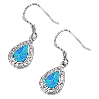 925 Sterling Silver Opal Dangling Earrings With CZs
