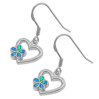 925 Sterling Silver Opal Plumerias Heart Dangling Earrings