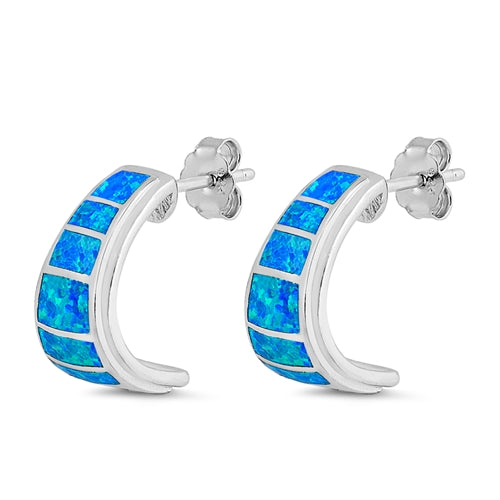 925 Sterling Silver Opal Stud Earrings