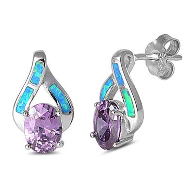 925 Sterling Silver Opal Stud Earrings With Created Amethysts