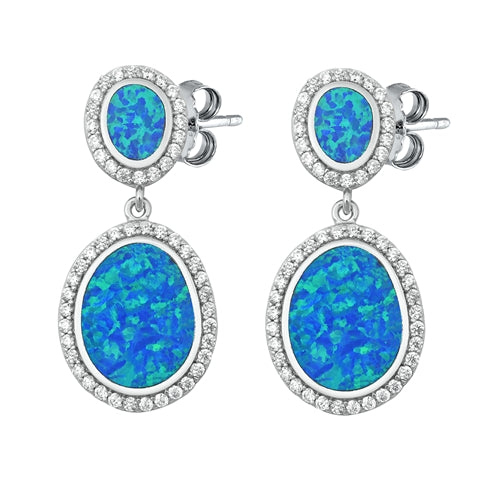 925 Sterling Silver Opal Stud Earrings With Clear CZs