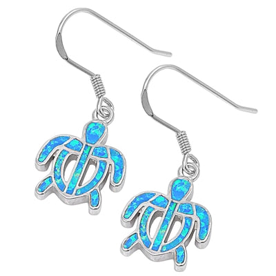925 Sterling Silver Hawaiian Sea Turtles Dangling Earrings With Opal Inlay