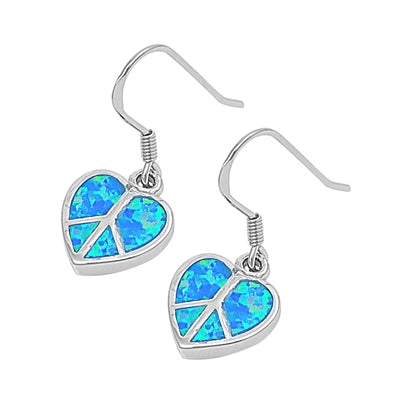 925 Sterling Silver Peace Sign Heart Dangling Earrings With Opal Inlay