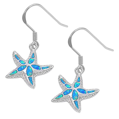 925 Sterling Silver Starfish Dangling Earrings With Opal Inlay