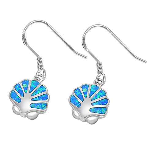925 Sterling Silver Sea Shell Dangling Earrings With Opal Inlay