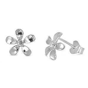 925 Sterling Silver Plumeria Earrings With CZ - Tarnish Free